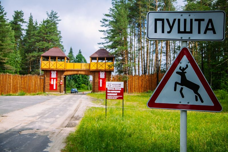Въезд в центральную усадьбу заповедника «Мордовский», Россия. Фотография предоставлена Есиной Ириной.
