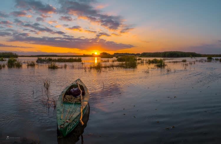 Закат в дельте. Фото Фёдора Лашкова. Астраханский биосферный заповедник, Россия.